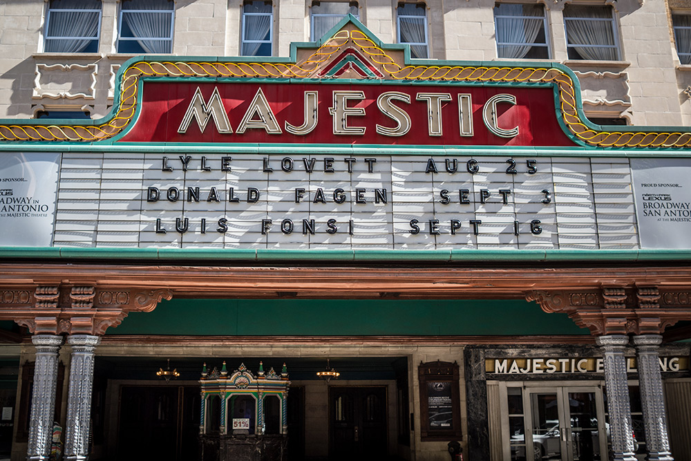 The marque at the Majestic Theatre, showcasing shows by Lyle Lovett, Donald Fagen, and Luis Fonsi.