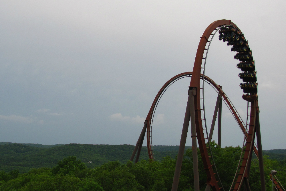 Rollercoaster peeking out above the trees at Silver Dollar City in Branson.