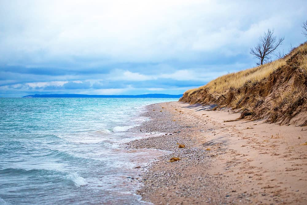 Sleeping Bear Dunes beach shoreline.
