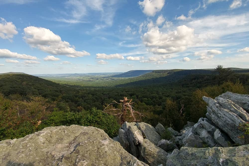 Lookout point in Hawk Mountain Sanctuary in Kempton—one of the best places to bird watch in America