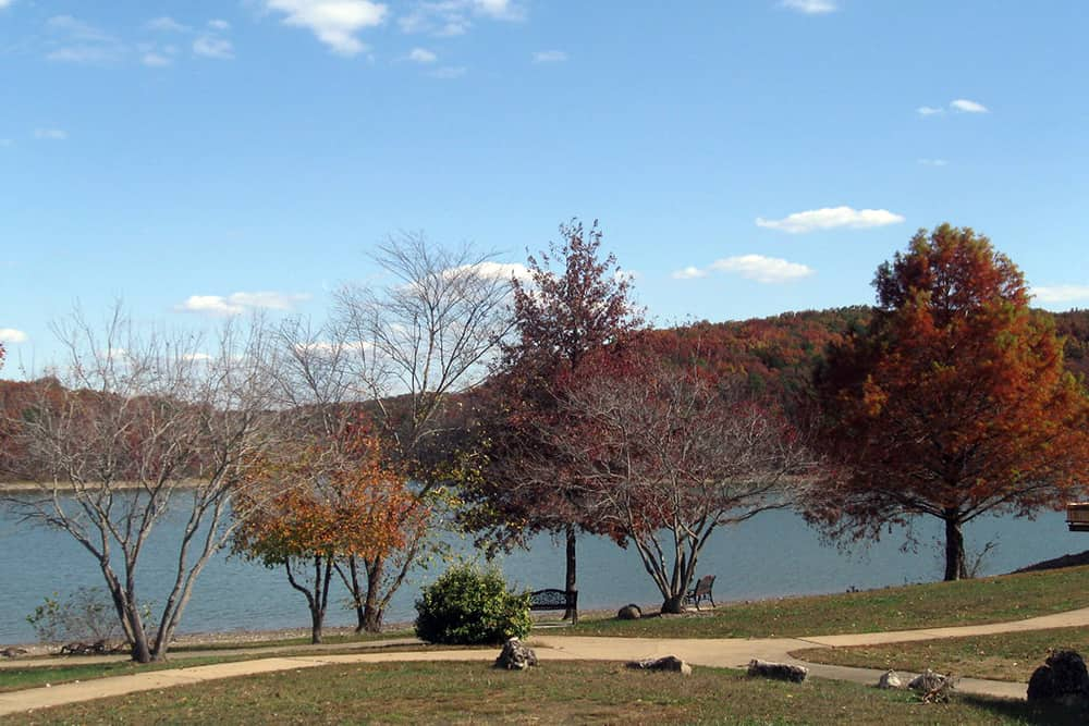 Overlooking the lake and trees at Trout Lodge in Potosi, Missouri in the Ozarks.
