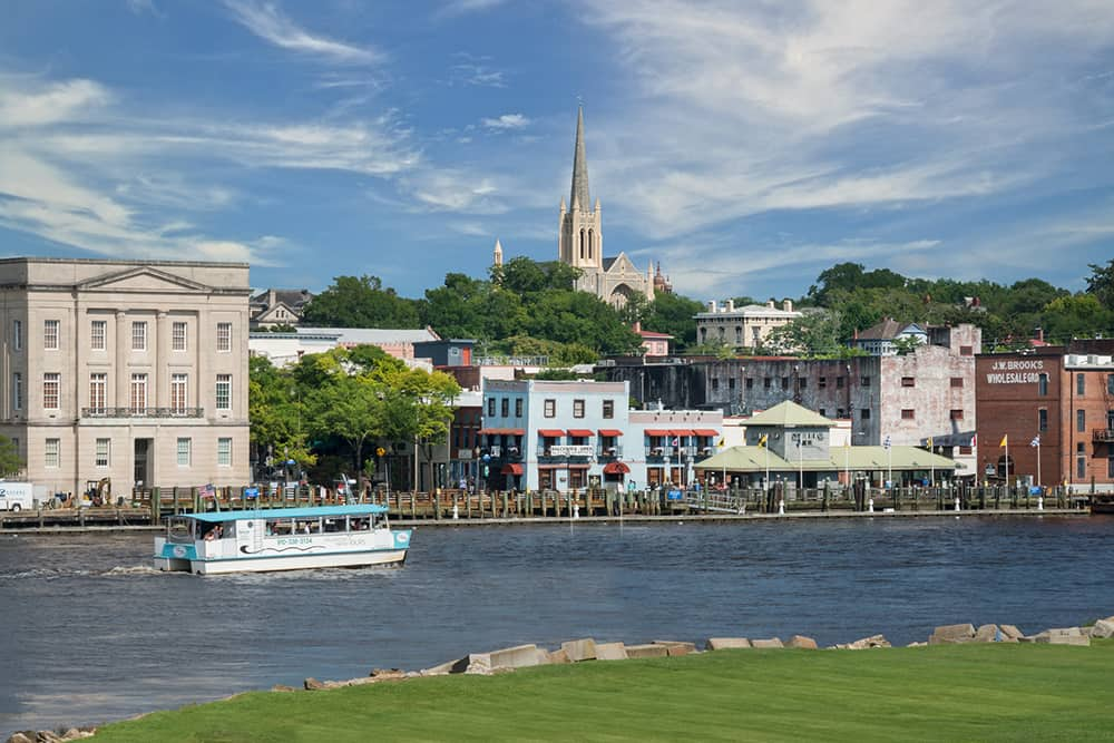 Waterfront of Wilmington, NC--a top city for single seniors