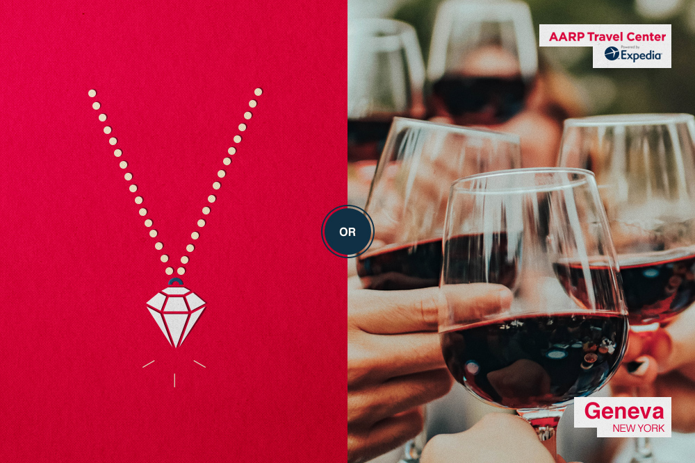 diamond necklace/wine glasses toasting