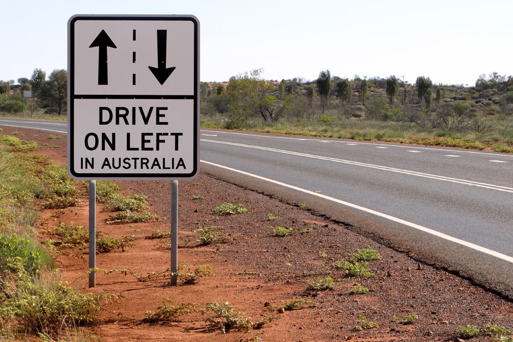 road sign for driving on the left in australia