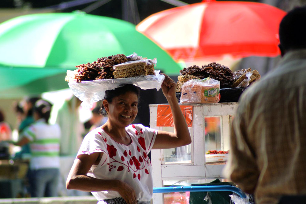 Woman selling chocolate on the streets of Oaxaca