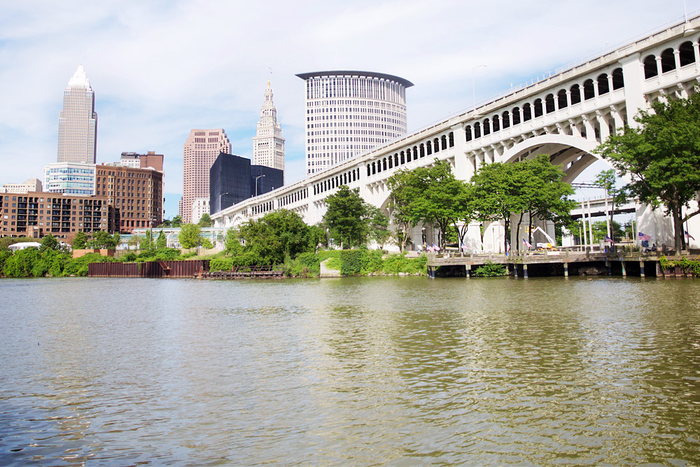 view of cleveland from across the river