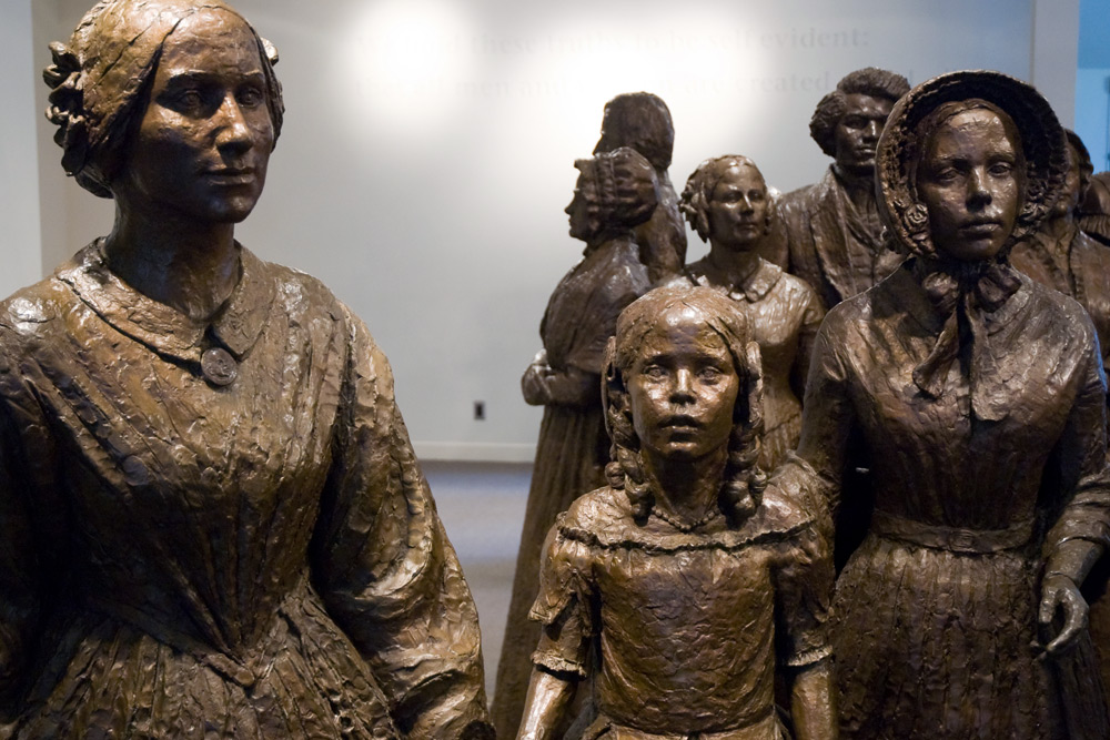 statues at womens rights national historical park