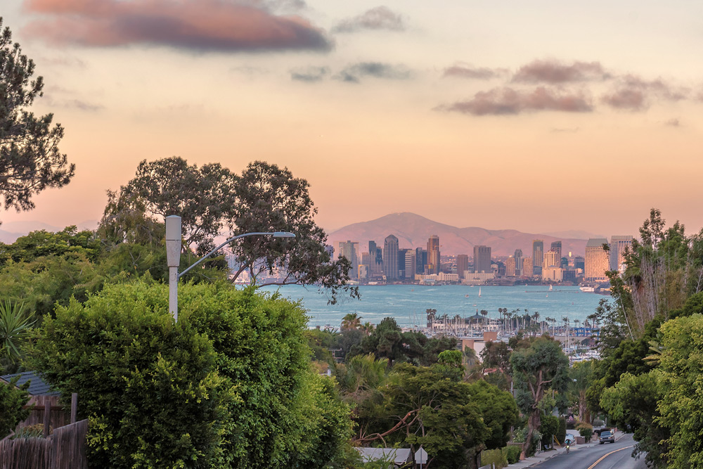 view of downtown san diego at sunset