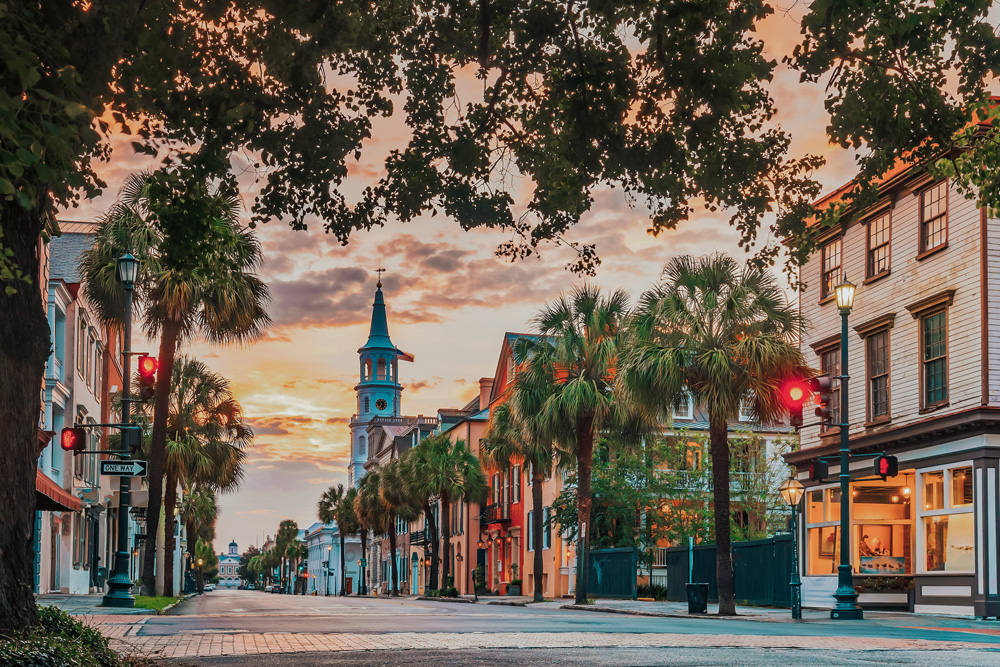 Palm-tree lined streets of downtown Charleston South Carolina