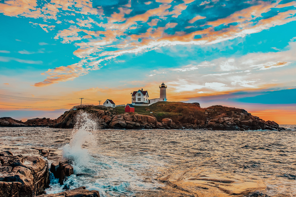 Nubble Lighthouse at sunset in York Maine