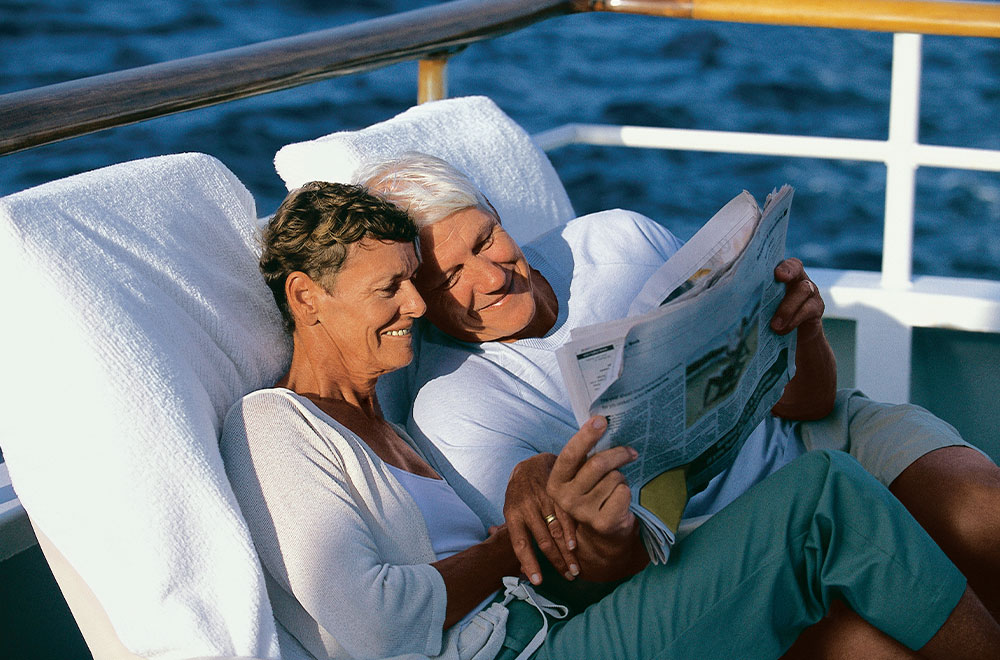 Senior couple looking for cruise deals