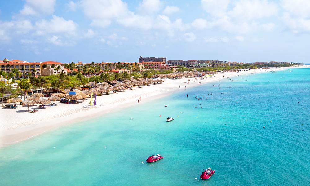 Aerial from Eagle beach on Aruba in the Caribbean