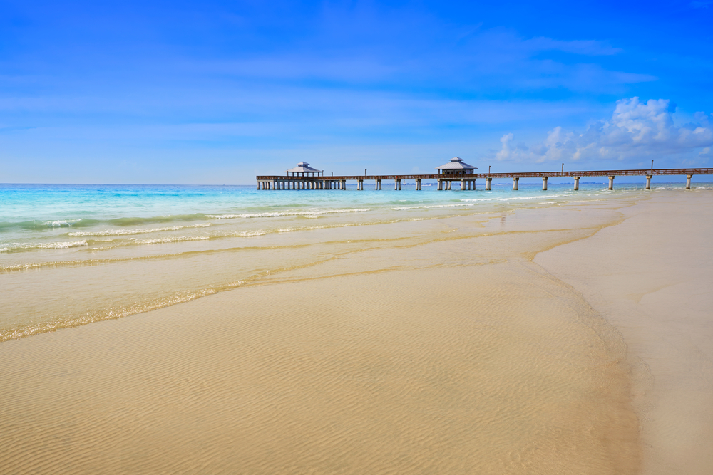 Florida Fort Myers Pier beach in USA