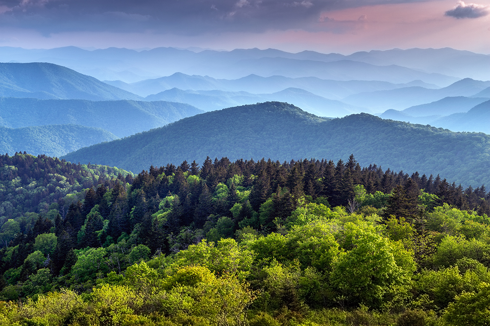 Great Smoky Mountains extending off into the horizon near the Blue Ridge Parkway in Asheville, North Carolina