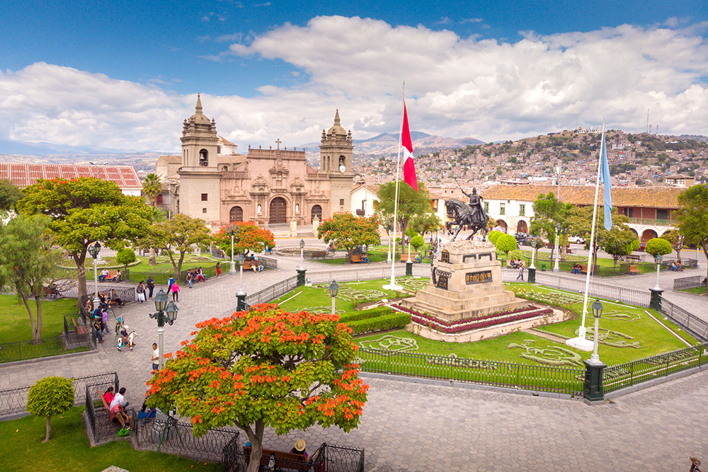 Humago cathedral in the Plaza de Armas in Ayacuchi, Peru