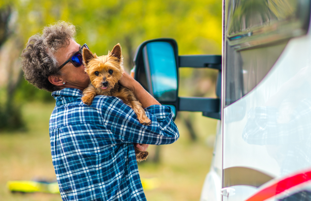 boomer traveling with pet in rv