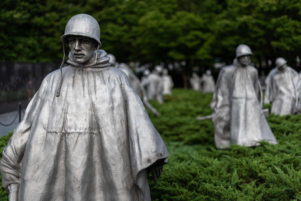 statues from the korean war memorial in washington dc