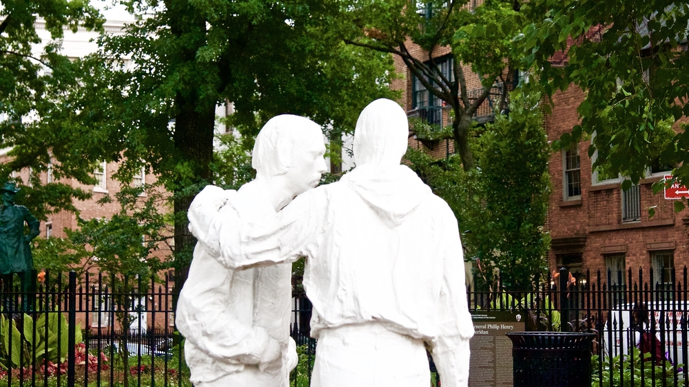 George Segal's Stonewall Inn Gay Pride Sculptures in Sheridan Square Park, Greenwich Village, New York