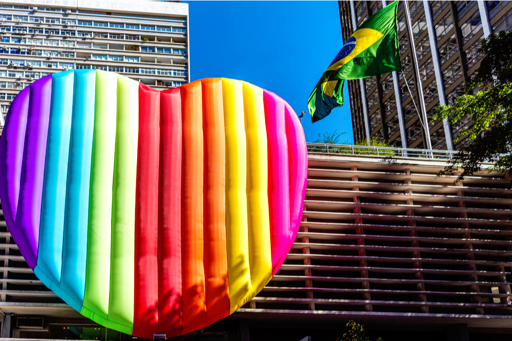 Colorful air balloons representing pride LGBTQ in the gay parade of Sao Paulo Brazil