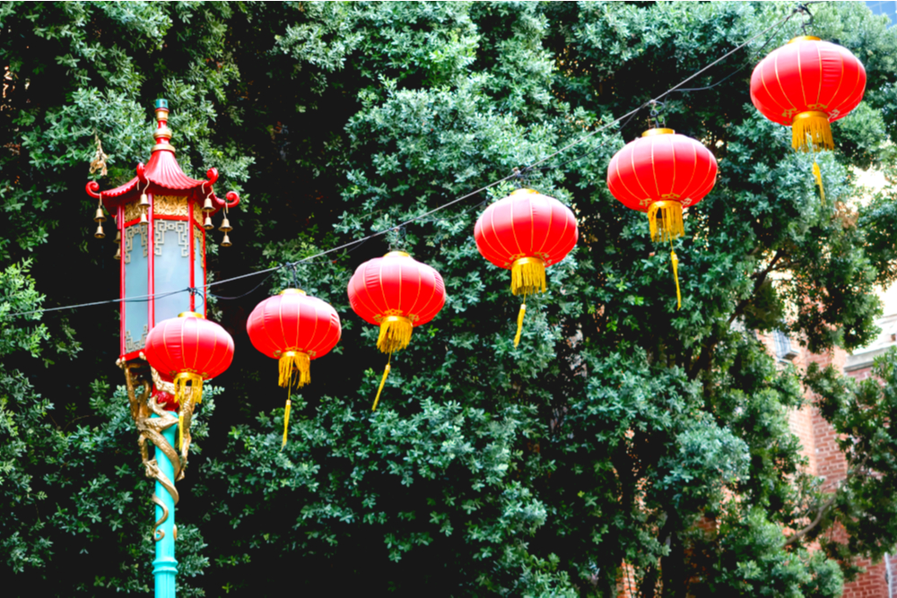 lanterns in china town, san francisco, california