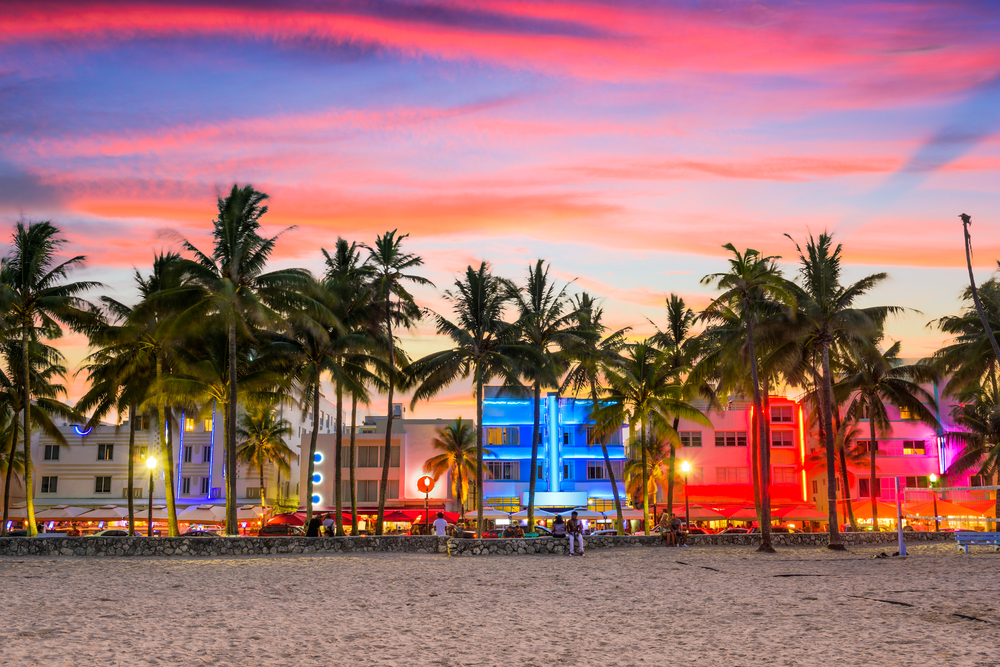 Miami Beach, Florida, USA on Ocean Drive at sunset