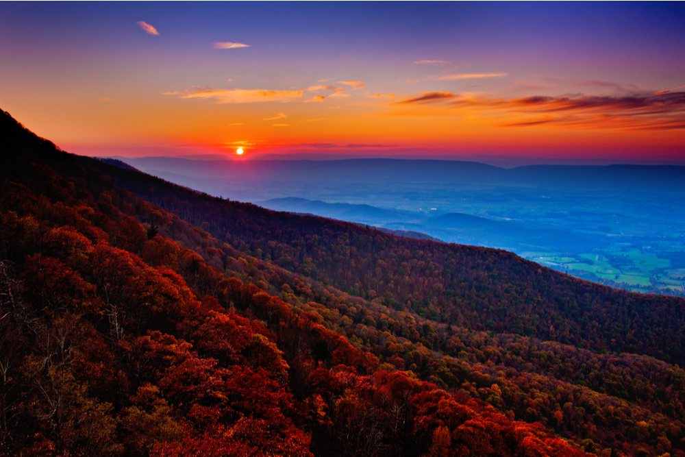 Autumn sunset over the Shenandoah Valley and Appalachian Mountains from Little Stony Man, in Shenandoah National Park, Virginia