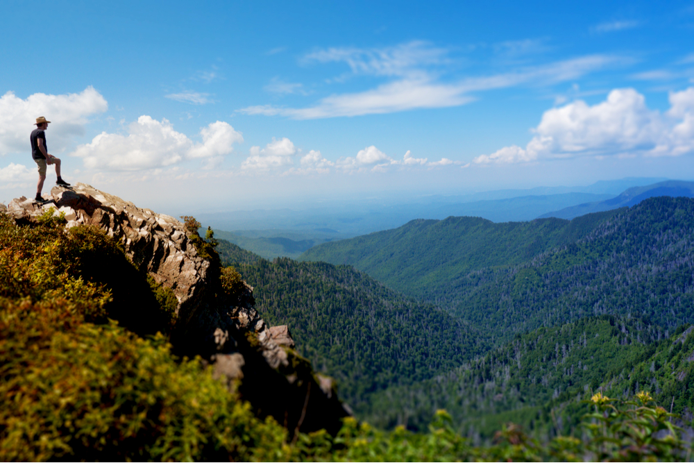 hiker at peak of Charlies Bunion, Smoky Mountains