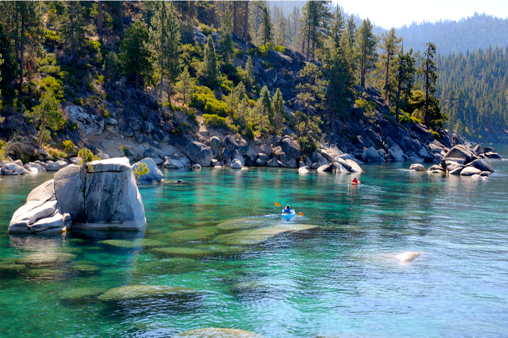 Kayaking along east shore of Lake Tahoe in California