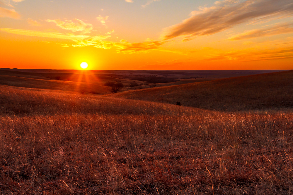 A view of the sunset in the Flint Hills of Kansas just outside of Alma, Kansas