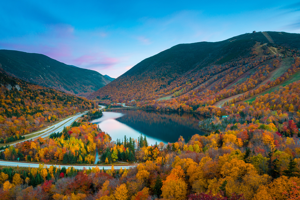 Fall colors in Franconia Notch State Park, White Mountain National Forest, New Hampshire