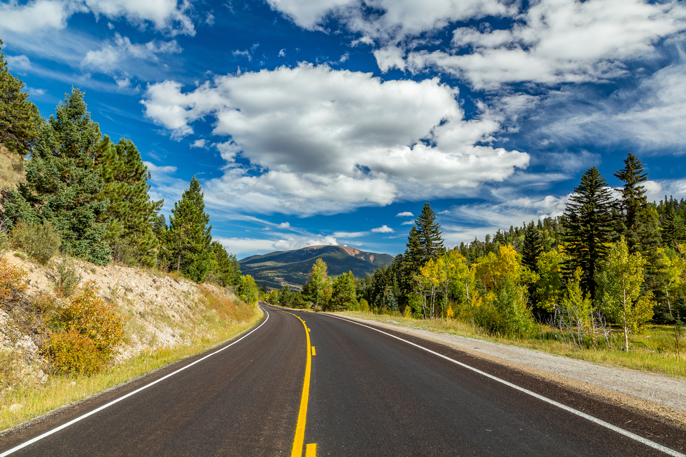 The Enchanted Circle Scenic Byway in Northern New Mexico in fall