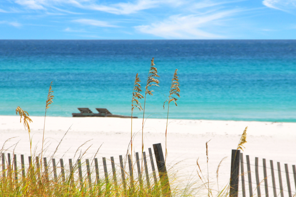 Beautiful white sands and emerald water florida beaches