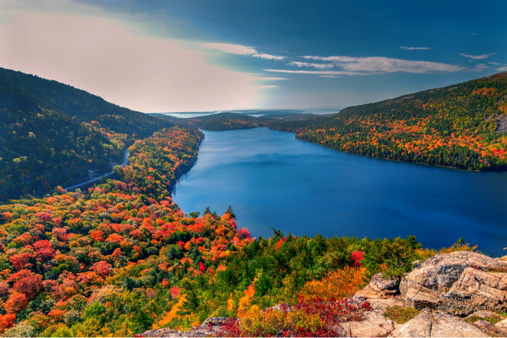 changing fall foliage Autumn in Acadia National Park, Maine, USA